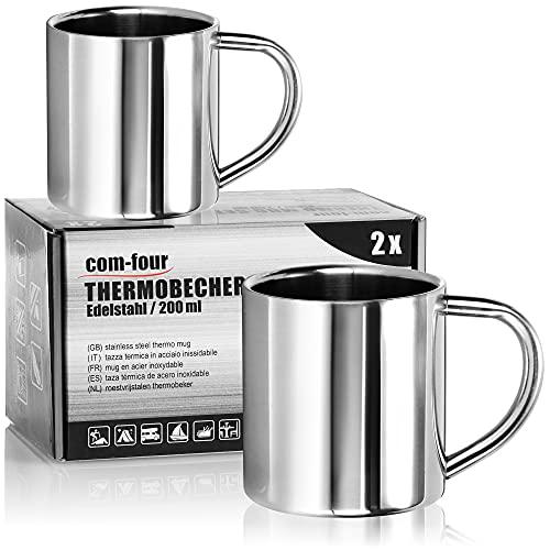 com-four® Taza de café de acero inoxidable - Taza de café - Taza termo-bebedora hecha de acero inoxidable - Taza con aislamiento de doble pared - SIN BPA (200ml)