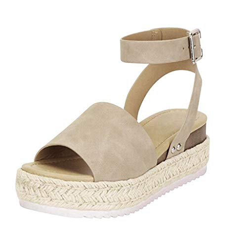 Sandals Women Summer 2019 hemp Thick Bottom Sandals Open Toe Leather Flat Bottom Shoes Roman Bohemian Shoes Buckle Sneakers Gray 35-43 riou
