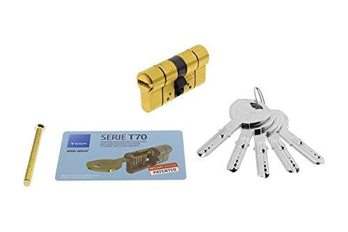 TESA 3019000 Cilindro Seguridad T70 30x30 Latonado Leva Larga, 30x30 mm
