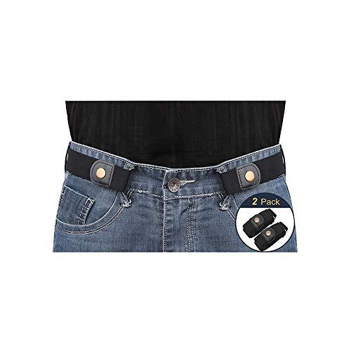 No Buckle Invisible Elastic Belt for Men/Women 2 Pack Black, Fits waist 36-50i