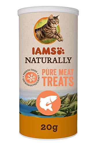Iams Naturally Katzen-Snacks aus 100% Lachs, getreidefrei, gefriergetrocknete Leckerlis, 20 g