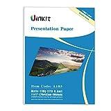 Presentation Paper Matte 11x17-100Sheets Uinkit Double Side Matt Paper 6.5 Mil 130Gsm For laser and Inkjet Printer