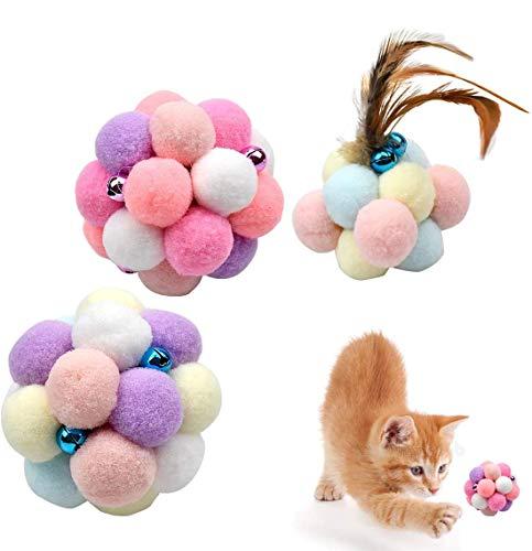Fodlon Colorato Gatto Palla, 3Pcs Giocattolo per Gatti Interattivo di Esercizio della Sfera di Giocattolo della Campane Palla del Gatto del Cucciolo del Gatto del Giocattolo Molle