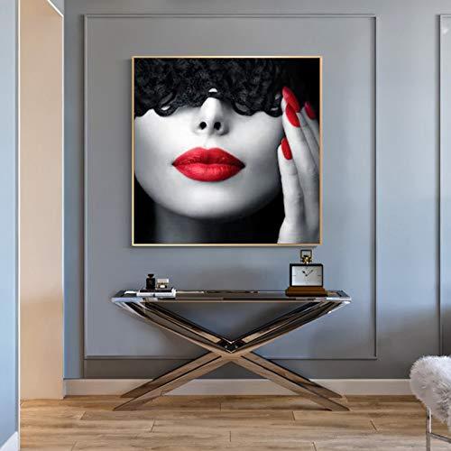 ganlanshu Rahmenlose Malerei Kunstfrau und ihre roten Lippen Hutplakat und Leinwand Wohnzimmer WohnkulturZGQ5871 50X50cm