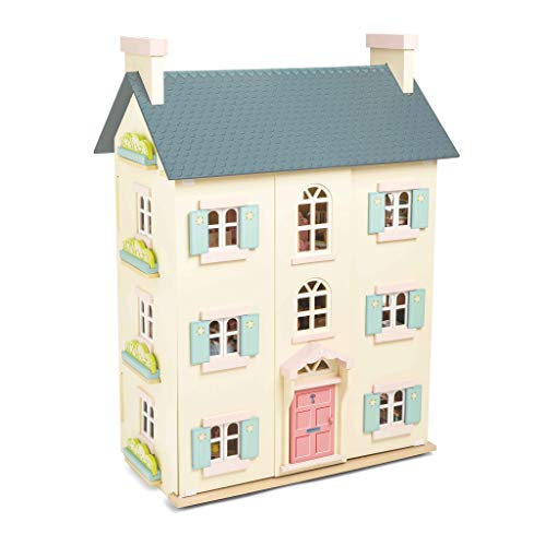 Le Toy Van - Cherry Tree Hall Large Wooden Doll House | 4 Storey Wooden Dolls House Play Set - Suitable For Ages 3+