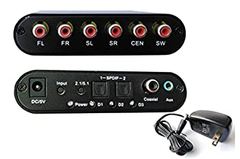 Easyday High Ouality Digital AC3 DTS Optical SPDIF/Coaxial Audio to Analog 5.1 Channel Surround Audio Sound Decoder