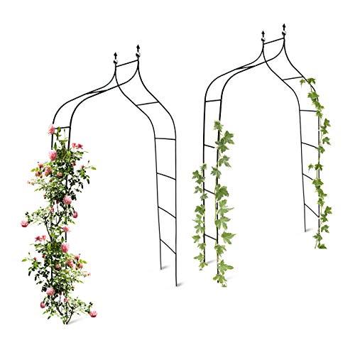 Relaxdays 2er Set Rankbogen Metall geschwungen 240 cm, royaler Rosenbogen mit Spitze, Rankhilfe und Gartendeko für Draußen, grün