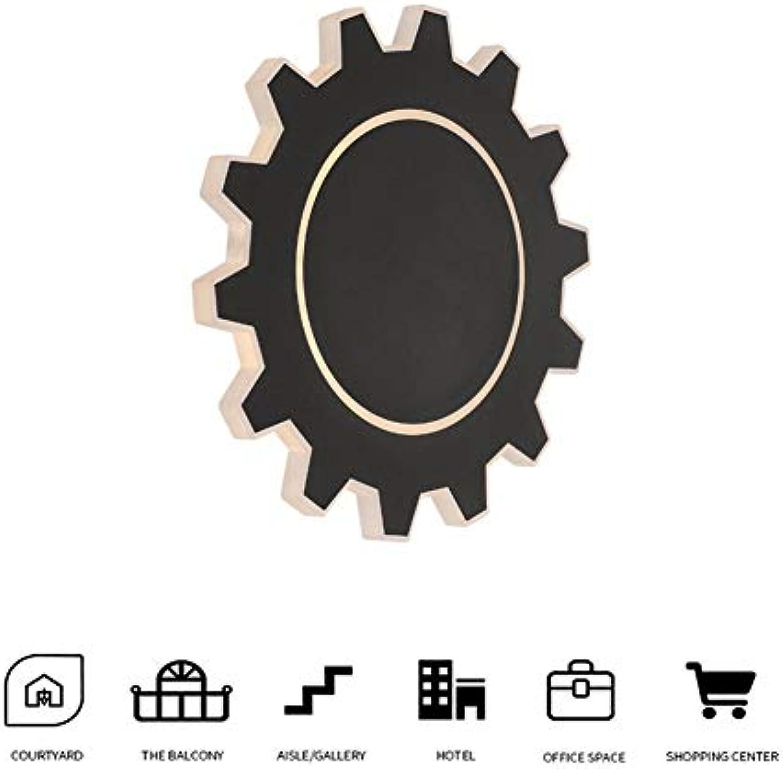 WO NICE Wandleuchte Schwarz Zahnradform Weiches Licht Eisen Lampenkrper Korrosionsschutz Sicherheitsschutz Geeignet für Wohnzimmer Schlafzimmer Korridor (8W, warmweies Licht)