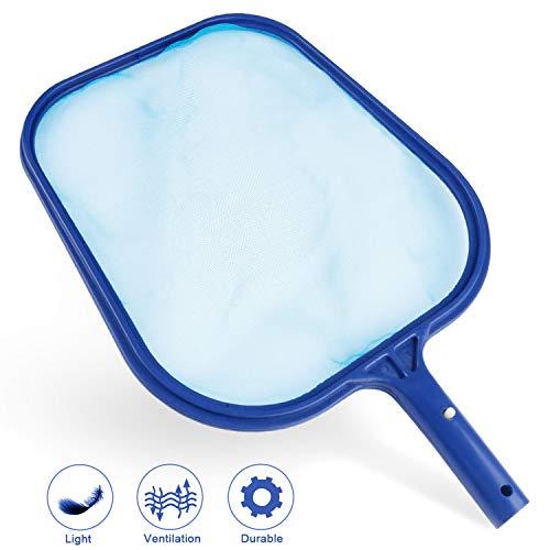 TedGem Kescher PoolReinigung, Kescher Schwimmbad Blatt Skimmer Netz, Pool Reinigungsset mit Kescher-Aufsatz Oberflächenkescher blau
