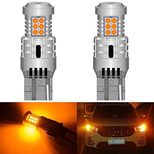 LXH-SH Tira de luz LED 2X CANBUS T20 7440 W21W WY21W LED Bombilla de Giro del automóvil Ningún Error Hiper Flash Luz incorporada Resistencia Naranja Amarillo Blanco lámpara roja Tira de luz