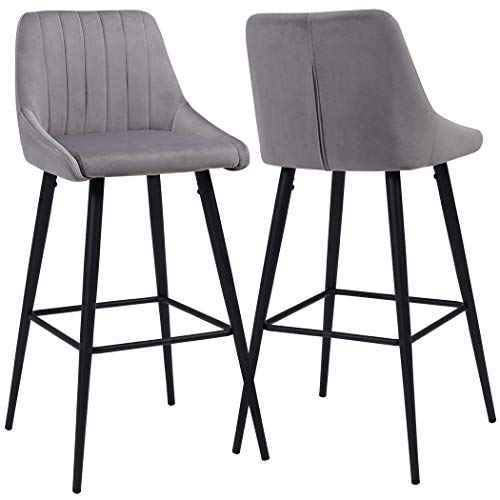 2X Barhocker Barstuhl aus Stoff Samt Gestell aus Metall Tresenhocker Bar Sessel gut gepolstert mit Lehne Farbauswahl Duhome 5162, Farbe:Grau, Material:Samt