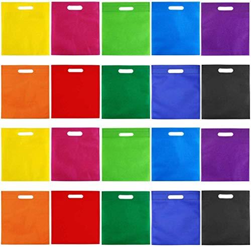 BBGSFDC 50 Piezas 9.5 por 11.5 Pulgadas Bolsas no Tejidas Bolso Bolsa de Arco Iris Bolsa de Asas Party Gift Handles Bag Favors, 10 Colores