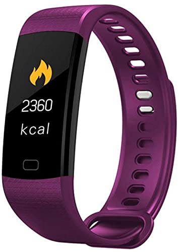 Reloj inteligente Fitness Mujeres Reloj Inteligente Hombres Bluetooth Frecuencia Cardíaca Presión Arterial Podómetro Reloj LED Sport Pulsera Inteligente Para Android IOS-Púrpura