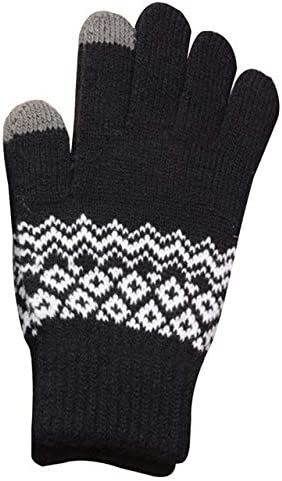 Knitted Gloves Men/Woman Touch Screen Girl Female Stretch Knit Gloves Mittens Winter Warm Knitting Printing Gloves Warm Gifts - (Color: BK)