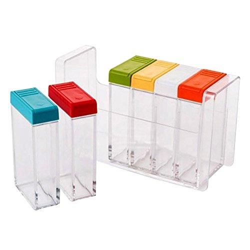 Annotebestus - Juego de 6 botes de especias transparentes para cocina, dispensador de condimentos, salero y condimentos, de plástico multicolor