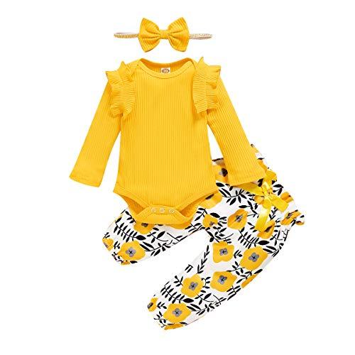 ZOEREA Conjunto de Ropa de Bebé Niña Manga Larga Mameluco con Volantes Mono Body + Pantalones Floral + Venda Recién Nacido Niñas Otoño Primavera Trajes 3 Piezas