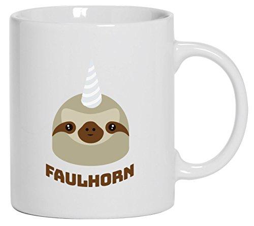 Einhorn Faultier Kaffeetasse Kaffeebecher mit Faulhorn Motiv von ShirtStreet, Größe: onesize,Weiß
