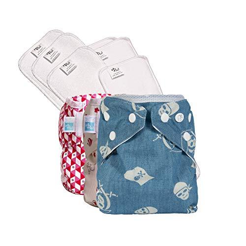 PSS! Pannolini lavabili ecologici POCKET ULTRA - Easy Kit da 3 cambi con inserto estraibile - 3 Cover Colorate e 6 Pannoli Assorbenti - Made in Italy