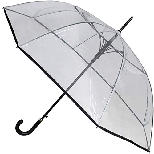COLLAR AND CUFFS LONDON - Windproof 134 cm Bogen - SEHR STARK - Verstärkt mit Fiberglas - StormDefender - Automatik Stockschirm - Windproof Regenschirm - rutschfeste Griff - Transparent Durchsichtig