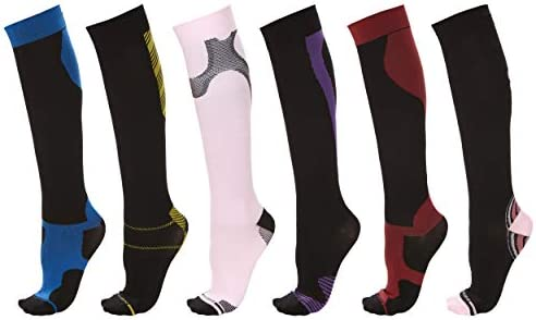 Knee High Athletic Compression Socks Men Women Circulation and Recovery Assorted Colors 6 Pack product image