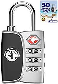 TSA Accepted 3 Digit Combination Luggage Lock for TravelSmart Open Search Alert IndicatorBright Color ChoicesHeavy Duty, Durable, Customs FriendlyFree ebook (Silver)