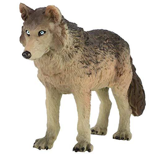 Tnfeeon Juguete de estatuilla del Lobo, simulación Fauna Modelo Animal Juguete de Animales Modelo Acción Figuras del Lobo Plástico Respetuoso del Medio Ambiente Mini decoración para niño(Cian)