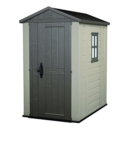 Keter Factor 4x6 Outdoor Storage Shed Kit-Perfect to Store Patio Furniture, Garden Tools Bike Accessories, Beach Chairs and Push Lawn Mower, Taupe & Brown
