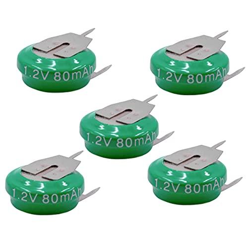 vhbw 5X NiMH Batería de botón de Repuesto Tipo V80H 3 Pines 80 mAh 1,2 V Compatible para lámparas solares, etc.