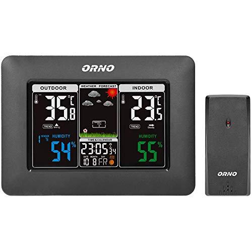 ORNO OR-SP-3101/B Estacion Meteorologica Interior Exterior Termómetro Higrómetro Pronóstico y Reloj Despertador