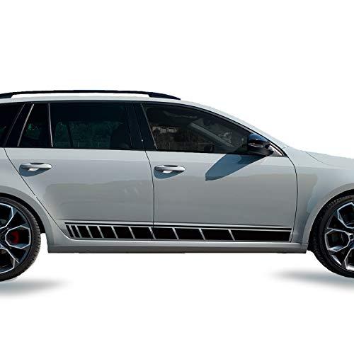 G006 | Auto Aufkleber 2er- Set Seiten Streifen Racing Dekor 170 cm x 13 cm | 3M 2080/Oracal 7510 Fluorescent Premium) | Rennstreifen | Ralleystreifen | Sport | Seitenstreifen (BlackGlossG12)