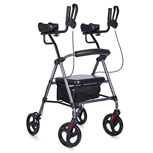 Zler Rollator Walker with Armrest, Up Rollator with Extra Wide Padded Seat & Backrest, Tall Walker with Seat Basket for Senior (Gray)