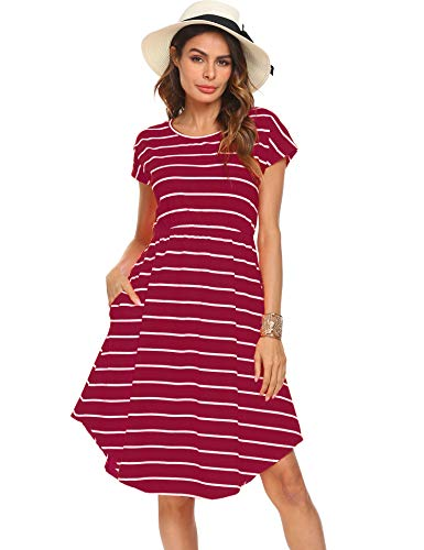 Halife Women's Casual Pleated Loose Swing T-Shirt Dress with Pockets Knee Length Burgundy,XXL