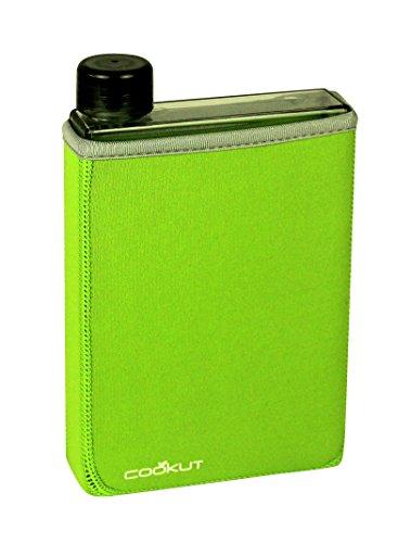 COOKUT - Gourde Manta - Une bouteille au format plat révolutionnaire très pratique - Housse isotherme verte - Eco-friendly - 50 cl
