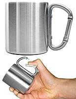 Doppelwandige robuste Edelstahl Camping-Tasse / Outdoor-Tasse mit geschraubtem Karabiner Griff fürs Wandern, Reisen, Klettern, Bergsteigen, Trekking und die Arbeit passt und gehört in jeden Rucksack, in jede Outdoor-Ausrüstung, in jedes Camping-Gepäc...