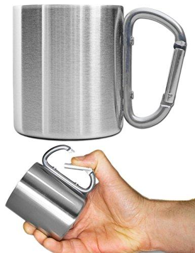 Outdoor Saxx® - Camping-Tasse, Outdoor-Becher, Metall-Becher, 200 ml mit geschraubtem Karabiner-Griff, Edelstahl, Wandern, Trekking, Arbeit, Silber