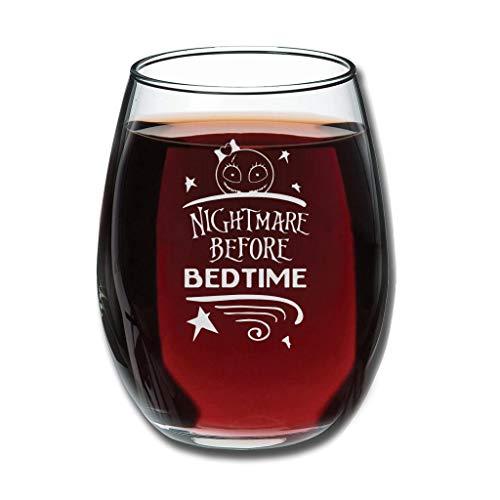 Copa de vino belga con grabado personalizado Pesadilla antes de acostarse, sin tallo, perfecta para esposa, mujer, amigas, compañeras, aniversario, pareja para Navidad, color blanco 350 ml