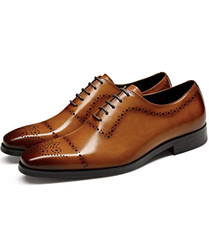 GIFENNSE Men's Dress Shoes Genuine Leather Business Oxford Formal Wedding for Men Brown 10.5