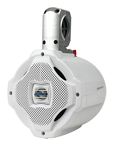 Bluetooth Marine Wakeboard Tower Speaker - 6.5 Inch 1000 Watt Two Way Audio Water Resistant Boat Sound System - in a Heavy Duty ABS Enclosure - Lanzar AQAWBS64WT (White)