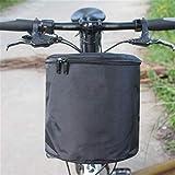 Cesta de Bicicleta Impermeable Junior Bicicleta de la Bici de Chicas niños Tela Plegable Ciclismo Cesta con la Cremallera de Bicicletas Marco Cesta (Color : Black, Size : 20x24x24cm)