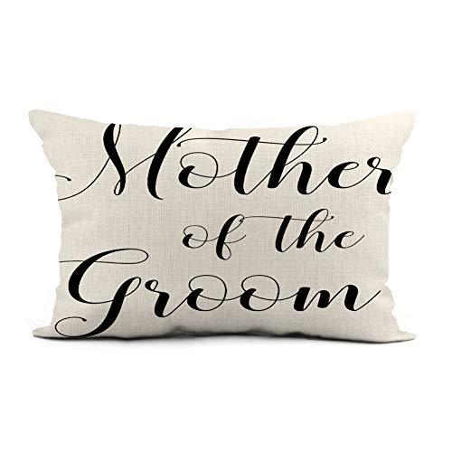 Topyee Capa de almofada de 30 x 50 cm moderna mãe do noivo preto e branco para decoração de casa, capa de almofada lombar para sofá cama