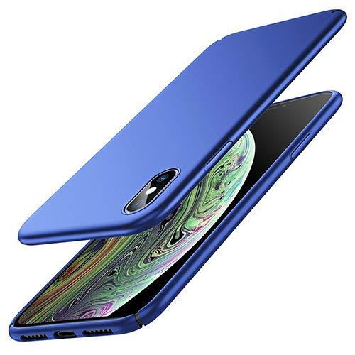 Zinuu iPhone X Hülle iPhone XS Hülle Dünn Matte Schlank Hart Ultra Slim Anti-Scratch PC Anti-Fingerabdruck Leicht Hülle Kabelloses Aufladen Hülle für iPhone X iPhone XS(Blau)