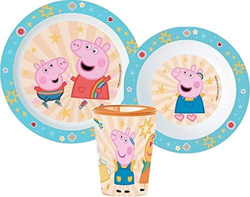 Peppa Pig - Vajilla infantil con plato, cuenco y vaso