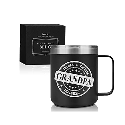 Grandpa Gifts Coffee Mug Stainless Steel, Grandfather Presents from Granddaughters and Grandsons for Christmas/Birthday/Fathers Day/Retirement, Coffee Travel Mug with Lid, 12oz/350ml - Man Myth Legend