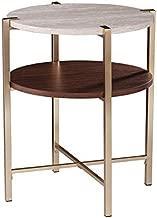SEI Furniture Ardmillan Two-Tier Faux Marble Top Round End Table, Brass, Dark Tobacco, White