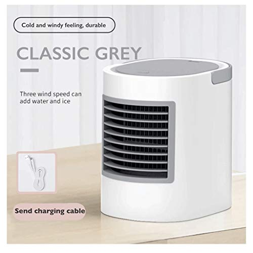 YQ Mini Air Conditioner Super Grote Cold Wind Thuis Small Fan Cooling Artifact USB Oplaadbare Portable Portable Student Slaapzaal Small Desktop Cooling Office Desktop Mute Humidification Mini Bed