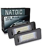 NATGIC 1 Par de Luces LED para Placa de Matrícula 3528 Chips 24SMD Can-Bus Incorporado Impermeable Número LED Conjunto de Lámpara de Matrícula para Serie 1 Serie 3 Serie 5 X5 X6 12V 3W - 6000K Blanco