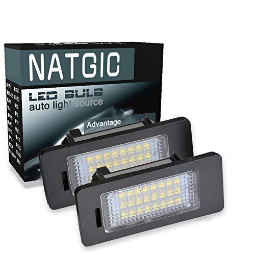 NATGIC 1 Paire d'éclairage de Plaque d'immatriculation à LED 3528 puces 24SMD Ensemble de Lampe de Plaque d'immatriculation à LED étanche pour Serie 1 Serie 3 Serie 5 X5 X6 12V 3W - 6000K Blanc
