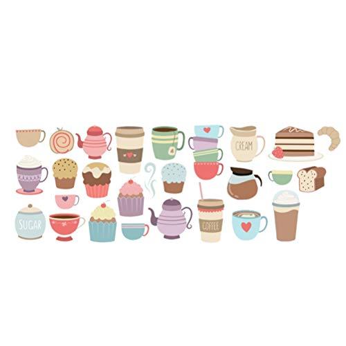 LIOOBO 1 Stück Bunte Cupcakes mit gemusterten Wandsticker übertragen für Wohnzimmer Esszimmer selbstklebendes Papier (CCS4014) Wandaufkleber