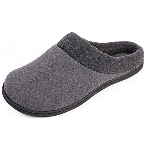 HomeIdeas Men's Woolen Fabric Memory Foam Slip on House Slippers, Warm Cozy Winter Bedroom...