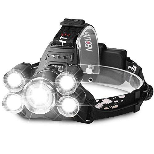 Luz Frontal Súper Brillante Recargable Impermeable 4 Modo de Linternas Frontales Para Espeleología/Pesca/Excursionismo/Caza(Batería incluido) H04 Negro